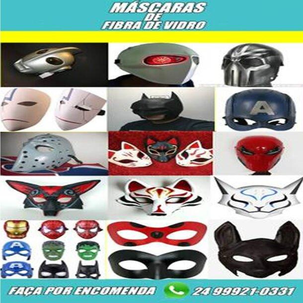 Capacetes e máscaras de fibra de vidro